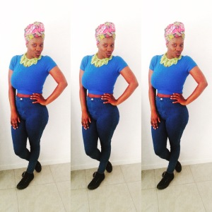 Cobalt crop and headscarf combo